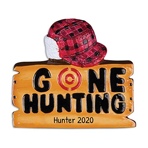 Personalized Gone Hunting Christmas Tree Ornament 2020 - Wood Sign Red Hat Target Hunts Gun Trapper Hobby Stalker Woodsman Game Shooting Sport Profession Year - Free Customization