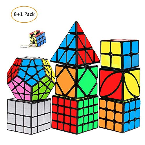 mimisasa Speed Cubes Set 9 Pack Speed Cube Pack 2x2 3x3 4x4 Pyramid Megaminx Mirror Skew Cube