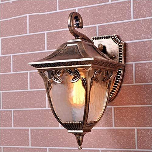 Modeen Estilo europeo Impermeable Latón Retro Linterna para exteriores Lámpara de pared Tradición Victoria Antigua Mesita de noche Balcón Corredor Lámpara de pared exterior E27 Iluminación d