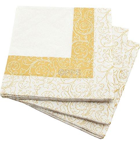 20 3 plis &or blanc/motif feuille serviettes en Papier 33 x 33 cm-Idéal pour les mariages, les baptêmes, les Parties bbq's, etc-livraison gratuite
