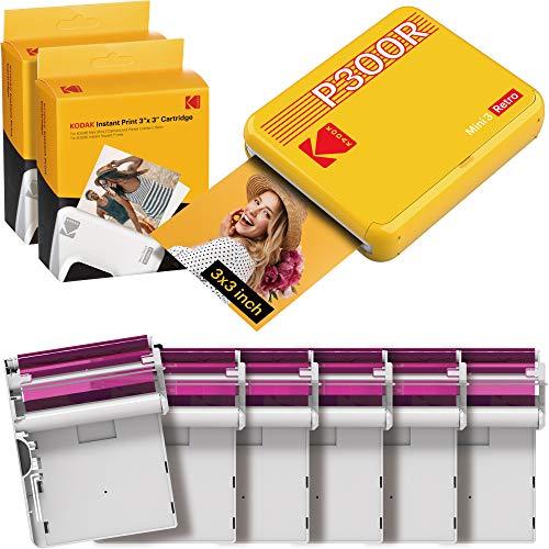 Kodak Mini 3 Retro, Tragbarer Mini Drucker für Smartphones (iOS und Android), Sofortbild, Quadratisch, 76x76 mm, Bluetooth, Wireless, 6 Druckerpatronen, 68 Blatt, Gelb