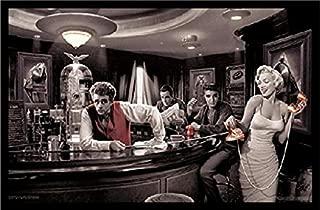 Buyartforless IF IF SP 1546.1 36x24 1.25 Black Plexi Framed Java Dreams with James Dean Marilyn Monroe Elvis Presley and Humphrey Bogart by Chris Consani Art Print Poster, 36