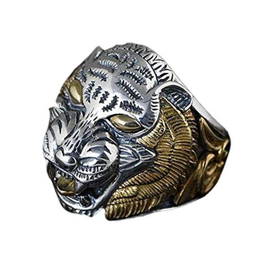 ELINA S925 Anillo de Plata Personalidad dominante de los Hombres Anillo de Plata Apertura Ajustable poderosa Cabeza de Tigre
