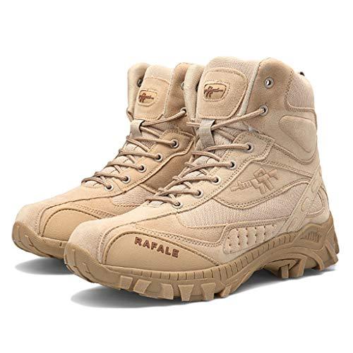 Wygwlg Bottes de Combat pour Hommes Bottes Militaires Bottes Tactiques légères en Plein air Chaussures d'entraînement de l'armée Respirante Bottines,Sand color-46