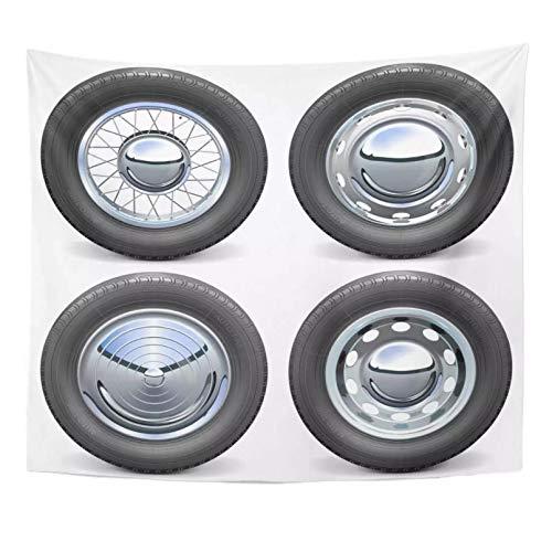 N/A Tapiz Neumáticos de Coche realistas Negros automáticos con Discos cromados Neumático Blanco Tapiz de Pieza de automóvil Decoración del hogar Colgante de Pared para Cama de Sala de Estar
