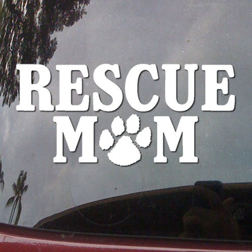 Rescue Mom Paw Prints Dog Vinyl Car Sticker Symbol Silhouette Keypad Track Pad Decal Laptop Skin Ipad Macbook Window Truck Motorcycle