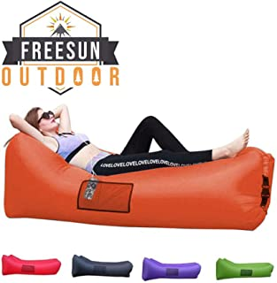 Freesun Inflatable Lounger   Indoor Poolside Hammock   Outdoor Camping Hiking Air Sofa   Portable Sack   Lightweight Couch for Beach, Backyard with Free Travel Bag, Neck Support Headrest