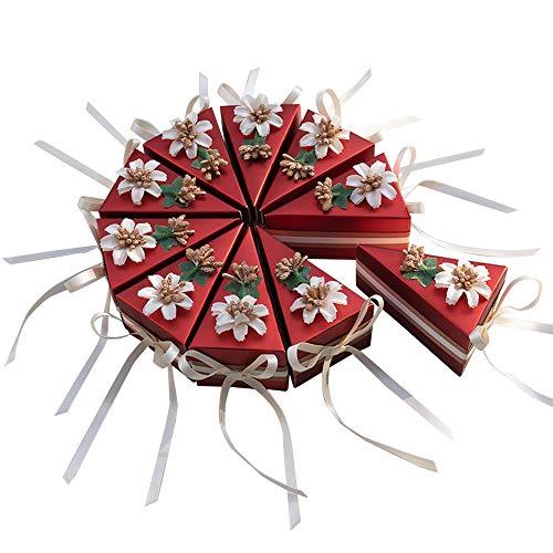 moin moin ラッピング ケーキ型 ホール ケーキ ボックス 箱 小分け   リボン + フラワー 10セット (花/レッド/Sサイズ) 9.5×6×5.5cm 2103ra238