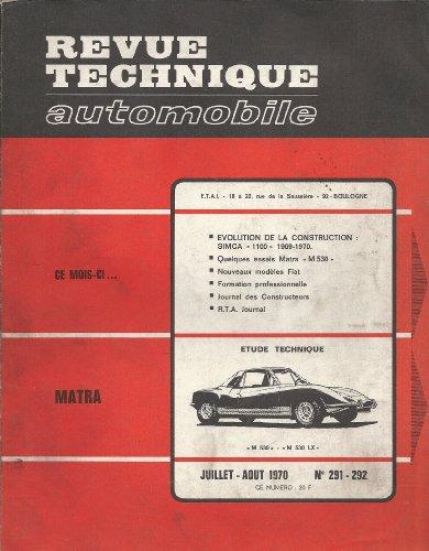 Revue technique automobile n° 291 Matra M 530 et M 530 LX