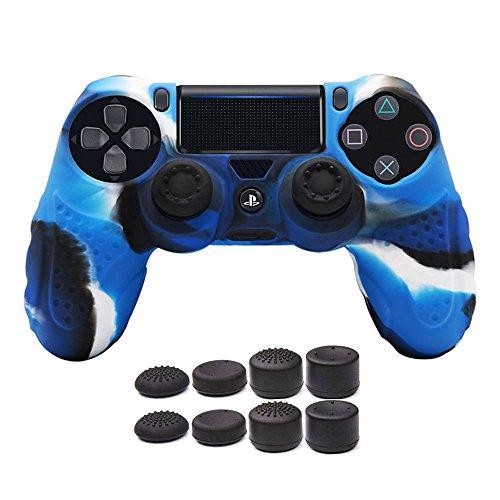 CHINFAI DualShock4 Schutzhülle für Sony PS4 Controller mit 8 Daumengriffen (Camou-Blue)