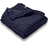 100% Cotton Weighted Blanket for Kids, Soft & Calming, Airy Hand Knit & Filler Free, 8 lb Handmade Chunky Knit Weighted Blanket, Machine Washable ( Blue)
