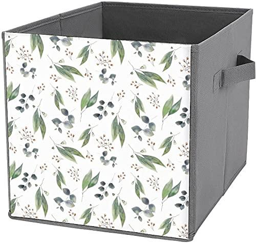 Cubetti di immagazzinaggio in tela con foglie di eucalipto, foglie di fogliame verde e fiori in tela, cestino portaoggetti pieghevole e cesto per giocattoli