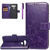 ISADENSER LG V40 ThinQ Case LG V40 Case Clover Design Magnetic Closure Credit Card Slot Holder [Kickstand] Flip Folio Embossed PU Leather Wallet Case Cover LG V40 ThinQ Lucky Clover Purple