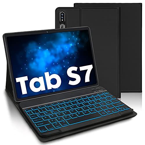 AVNICUD Funda con teclado retroiluminado para Samsung Galaxy S7 11 pulgadas 2020, ultrafina, ligera, con teclado Bluetooth extraíble (QWERTZ) para Samsung Tab S7 SM-T870/SM-T875