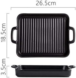 JD Plateau de cuisson, Binaural Bowl, en céramique rectangulaire cuisson bol, Plaque de cuisson, cuisson micro-ondes, plat...