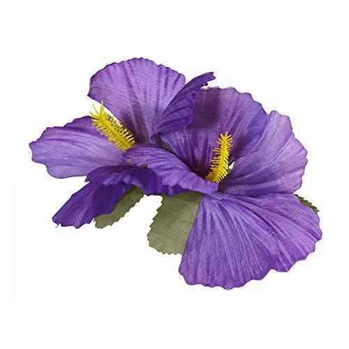 Widmann 1843V - Haarspange, mit 2 lila Hibiskus Blumen, Haarclip, Haarschmuck, Hawaii, Mottparty, Karneval