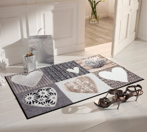 Salonloewe Fußmatte waschbar Alpenglück Herzen 50x75 cm SLD0122-050x075
