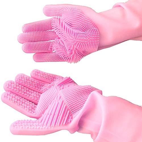 Geschirrhandschuhe, Reinigen Silikon-Spülhandschuhe, Silikon Handschuhe, Magische Handschuhe, Gummi-Handschuh für die Haushalt, Hitzebeständige Handschuhe für Küche, Bad, Auto (Pink, 1 Paar, Groß)