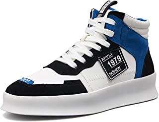 Yong Ding Men High Top Sneakers Splice Design PU Upper Lightweight Fashion Trainers with Non Slip Thicken Sole for Sports 7.5US Black and Blue