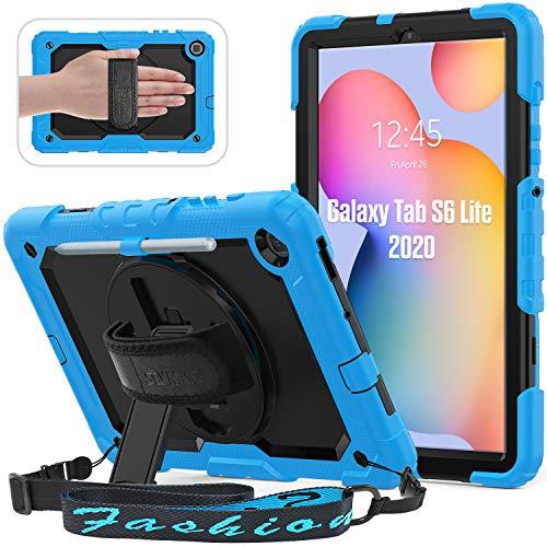 Custodia SEYMAC per Samsung Galaxy Tab S6 Lite 2020 (10,4 pollici), custodia ibrida resistente alla caduta con protezione dello schermo integrata per Galaxy S6 2020, azzurro