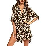 Loalirando Abito da Spiaggia Donna Copricostume Donna Mare Copri Bikini Donna Camicia Abito Donna Cover up Stampa Leopardata Elegante (Leopardo, XXL)