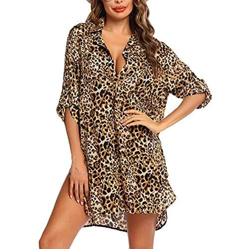 Loalirando Abito da Spiaggia Donna Copricostume Donna Mare Copri Bikini Donna Camicia Abito Donna Cover up Stampa Leopardata Elegante (Leopardo, S)