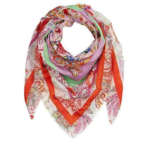 CODELLO Damen XL-Tuch mit Flower-Print aus Baumwolle mit Seide