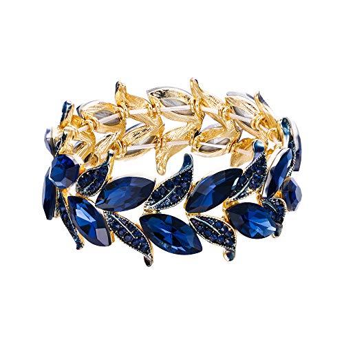 Clearine Braccialetto Matrimonio Sposa Bracciale per Donne Marquise-Forma Foglia Tratto Bangle Bracciale Blu Navy Colore Zaffiro Oro-Fondo