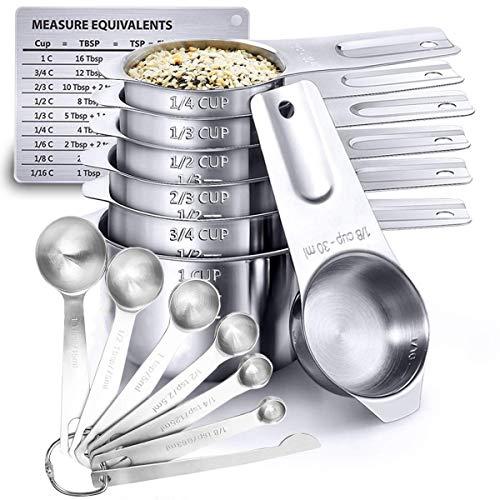 Orapink Juego de tazas medidoras y cucharas medidoras con regla de medición y tabla de conversión de medición magnética, 7 piezas cucharas medidoras Set