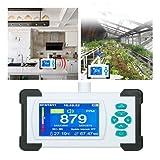 InLoveArts Medidor de CO2 Monitor de dióxido de carbono de 0.0-9999 PPM,sensor de CO2 de alta precisión con temperatura y humedad relativas,utilizado en lugares concurridos y fertilizante gas agrícola