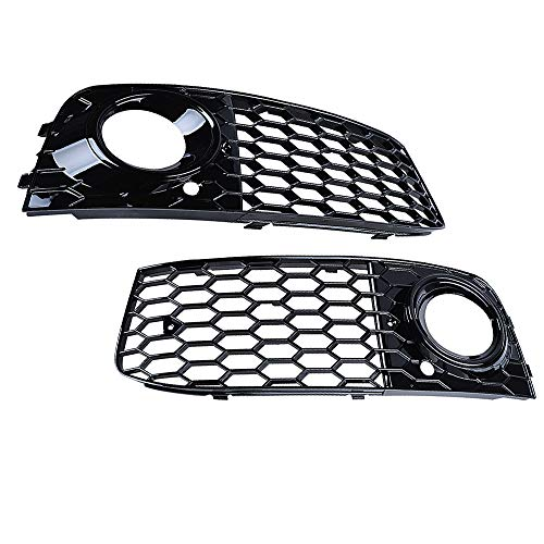 Astra Depots A Pair Mesh Style Plated Front Bumper Car Fog Light Cover Vent Grille Compatible with Audi A4 B8 2008-2012 2009 2010 2011