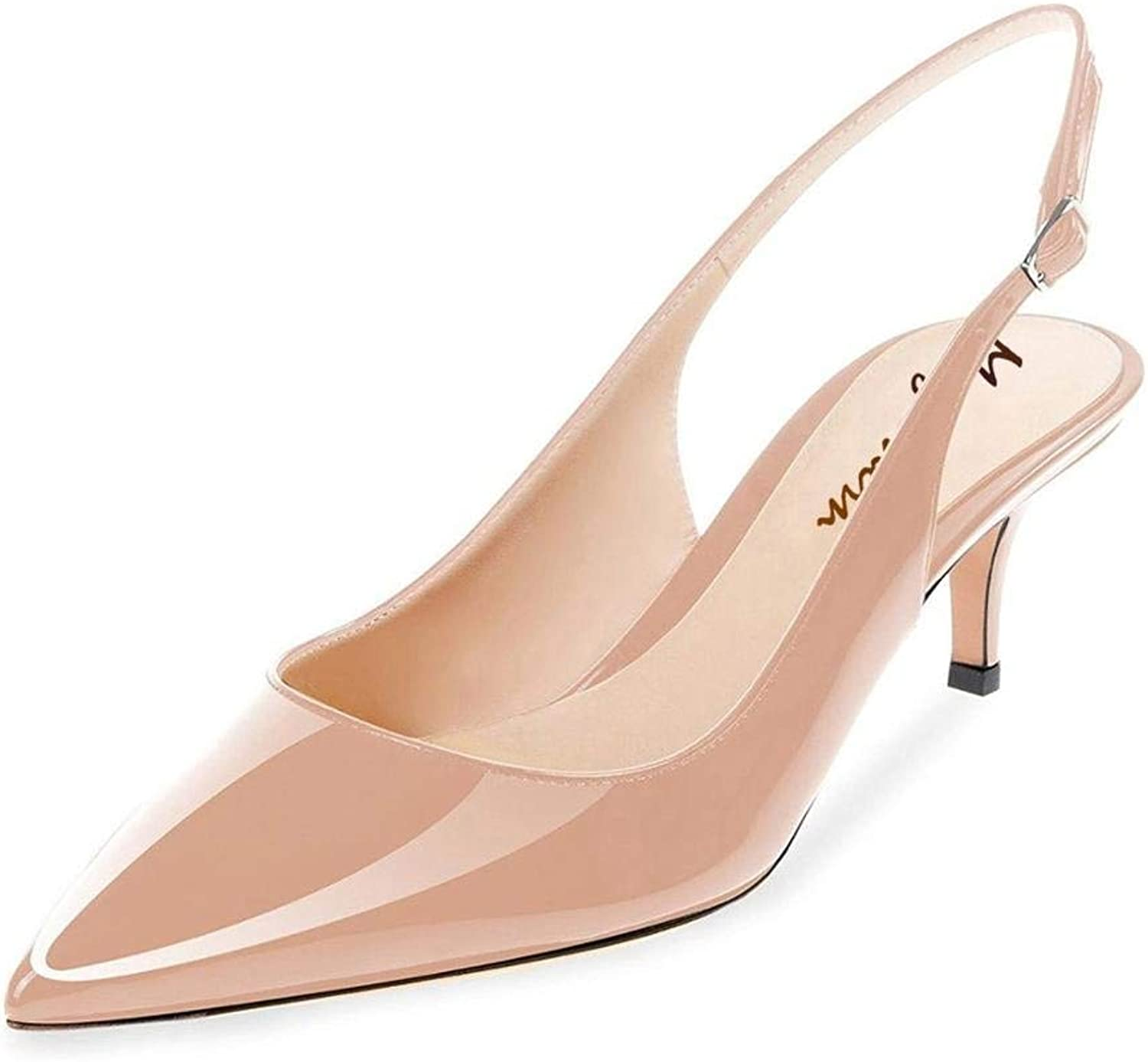 Maguidern Patent Leather Slingback Pumps, Women's Pointed Toe Slingbacks Buckle Ankle Strap Low Heel shoes Nude Size 10