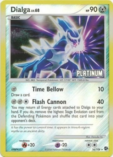 Pokemon Center Pokemon Burger King Rare Collectible Card Platinum Dialga Holo, 16/100