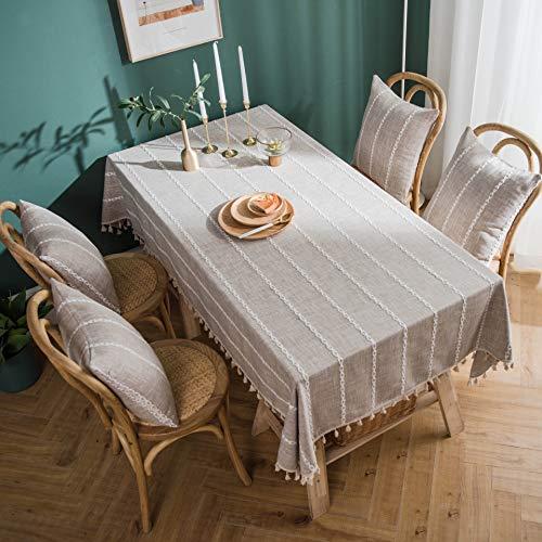 DQGZYF Mantel de Borla marrón de Tela de Campo Mantel Rectangular de algodón y Lino se Puede Lavar 140 * 200 cm