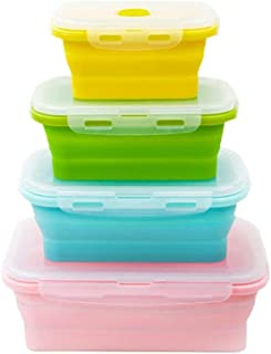Aolvo Collapsible Food Storage Containers with Lids, 4 Pack Silicone Collapsible Lunch Box Salad Bowl,BPA Free, Microwave,...