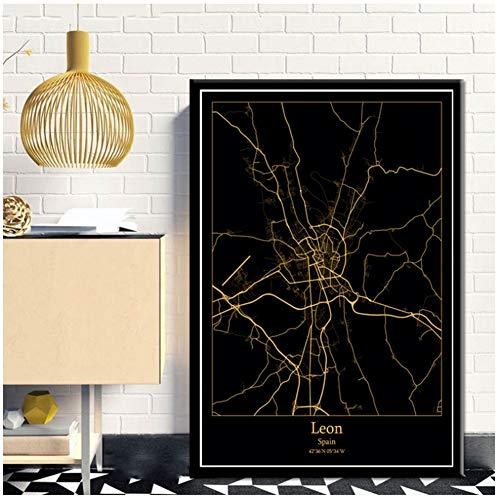 Xiongda Leon España Mapas de la ciudad en negro y dorado Mapa de la ciudad mundial Carteles Impresiones en lienzo Estilo nórdico Arte de la pared Decoración para el hogar-20X28 pulgadas Sin marco