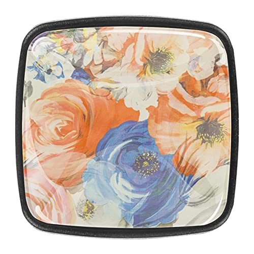 Tiradores de cajones de 30 mm de vidrio para gabinete de cocina, armario, tela textil floreciente peonía floral colorido