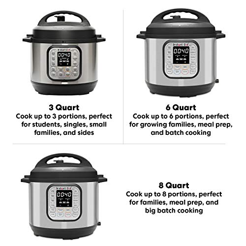 Instant Pot Duo Mini 3 Qt 7-in-1 Multi- Use Programmable Pressure Cooker, Slow Cooker, Rice Cooker, Steamer, Sauté, Yogurt Maker and Warmer, Stainless Steel/Black
