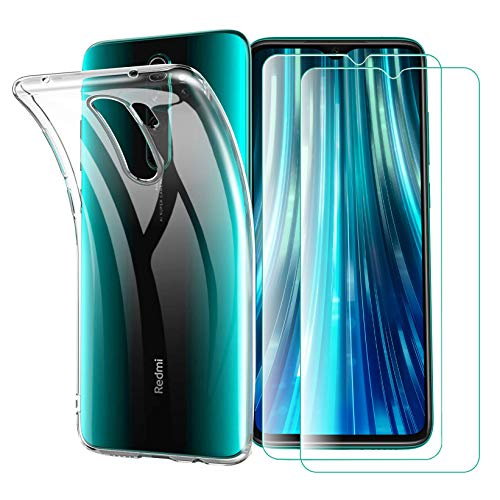 iLieber Redmi Note 8 Pro Hülle Panzerglas, [2 Panzerglas + 1 Hülle] Schutzhülle Schutzfolie Folie Glas TPU Silikon Hülle Cover Tasche Schale Weiche Transparent Crystal für Xiaomi Redmi Note 8 Pro