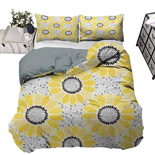 Bedding Comforter Sets Duvet Cover Yellow Chic Home Duvet Cover Set Colorful Illustration of Sun Flower with Motifs and Patterns Summer Nature Artprint,3 Piece Bedding Set,Full Size
