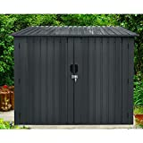 Hanover HANBIKESHD-Gry 4 Bikes, Dark Gray Galvanized Steel Bicycle Storage Shed with Twist Lock and Key for up t