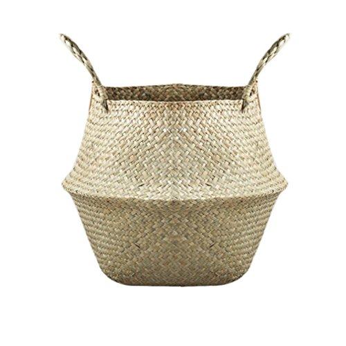 Plegable Natural Seagrass Tejido de almacenamiento Maceta Florero de jardín Colgar la cesta con la manija de almacenamiento Bellied Basket