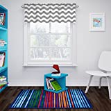 Eclipse My Scene Thermaback Blackout Wavy Chevron Short Valance Small Window Curtains Bathroom, Living Room and Kitchens, 42' x 18', Grey