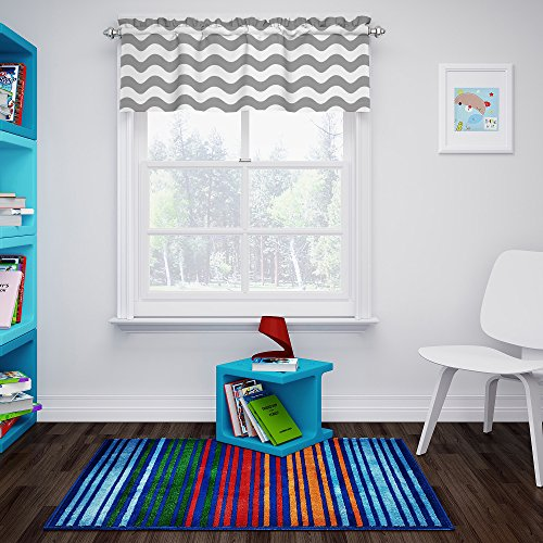 """Eclipse My Scene Thermaback Blackout Wavy Chevron Valance Rod Pocket Window Curtains for Kitchen or Bathroom, 42"""" x 18"""", Grey"""