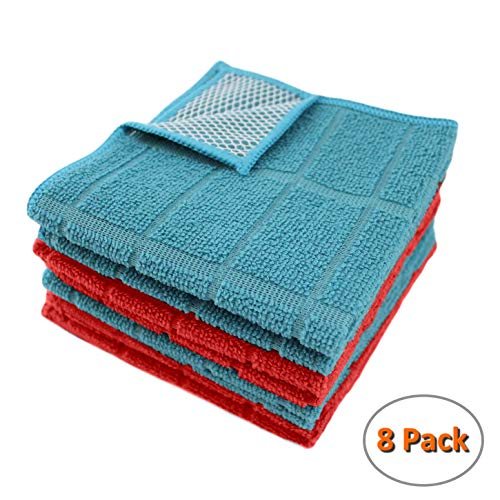 Microfiber Kitchen Dish Cloths for Washing Dishes with Poly Scour Side, Fast Dry no Odor wash Cloth with Scrubber Side, Dish Rags with mesh Back. 12x12-4xTeal (Turquoise), 4X(Red)