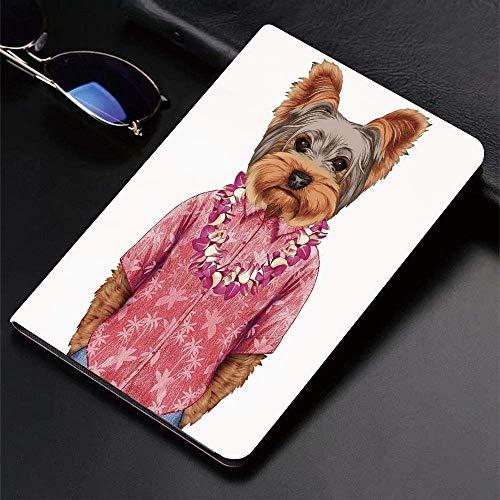 Funda para iPad (24.638cm, modelo 2018/2017, 6.a / 5.a generación) Funda inteligente ultradelgada y ligera, Yorkie, Retrato de un perro en forma humanoide con una camisa rosa con Hawaian Le, Fundas in