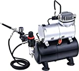 ABEST Complete Professional Airbrush Compressor Kit with Air Tank for Nails Tattoo Nail Art With Dual Action...