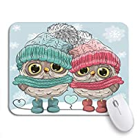 ROSECNY 可愛いマウスパッド かわいい冬の2つのフクロウの男の子と女の子の帽子ノンスリップゴムバッキングノートブックマウスマット用マウスパッド