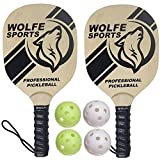 Wolfe Wooden Pickleball Paddle Set - Table Tennis Wood Racket Ultra Cushion Grip and Durable 7-Plywood -...