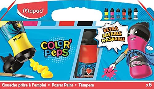 Maped - Peinture Gouache Enfant - Lavable et Couvrante - 6 Bouteilles Ergonomiques Design Super Héros - Prête à l'emploi et Facile à Ouvrir - Bouchon à Clapet - Couleurs Primaires - 75 ml x 6